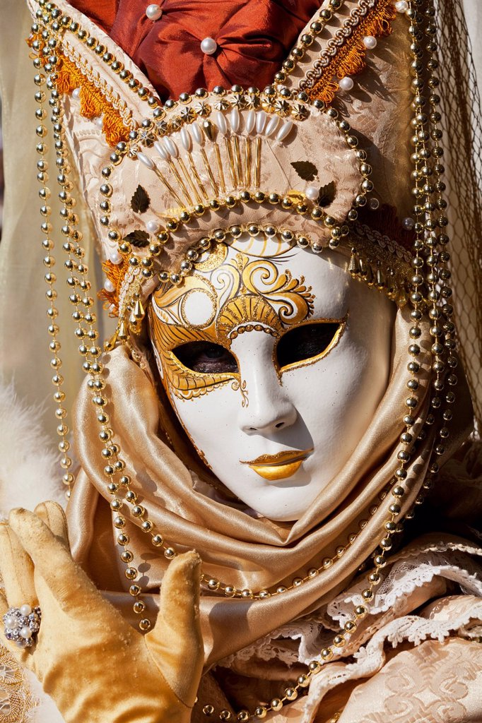 Stock Photo: 1783-44077 Person in Venetian costume during Venice Carnival; Venice, Italy