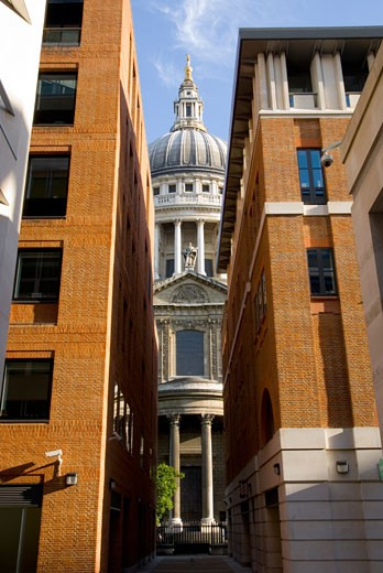 St. Pauls' cathedral as seen from alley, London,England,UK : Stock Photo