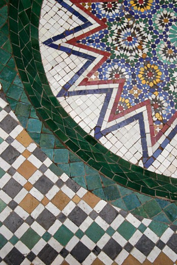 Stock Photo: 1783-5032 Mosaic tile floor,view from above, Marrakech (Marrakesh),Morocco