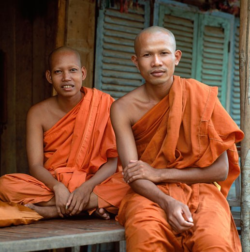 Stock Photo: 1783-6301 Two Buddhist monks ,  Phnom Penh,  Cambodia