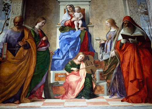 Bellini's Madonna and child,  Church San Zaccaria, Venice, Italy : Stock Photo