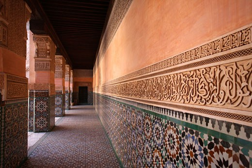 Stock Photo: 1783-7256 Wall in Ben Youssef Madrassa,  Marrakech, Morocco