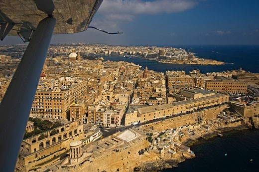 Aerial view of Valletta from sea plane,  Malta : Stock Photo