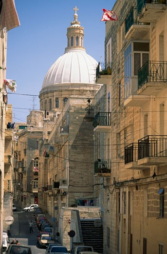 View towards Carmelite Church,  Valetta, Malta : Stock Photo
