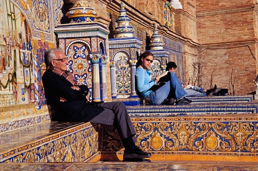 People relaxing in Plaza de Espana,  Seville, Andalucia, Spain : Stock Photo