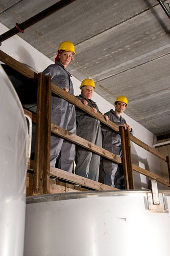 Stock Photo: 1785-11819 Blue-collar workers in factory overlooking storage tanks