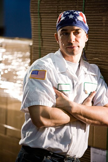 Closeup of male worker in storage warehouse : Stock Photo