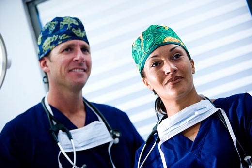 Stock Photo: 1785-13174 Portrait of two medical professionals in scrubs