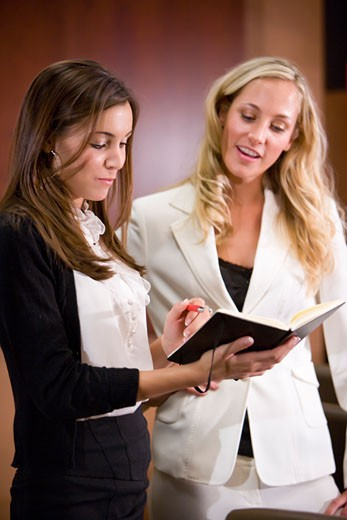 Pretty young office workers in boardroom reading notes : Stock Photo