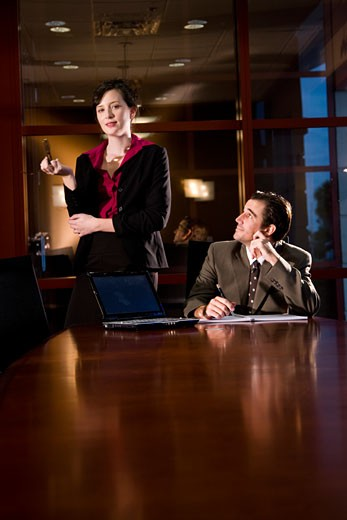Stock Photo: 1785-17658 Business people working in office board room