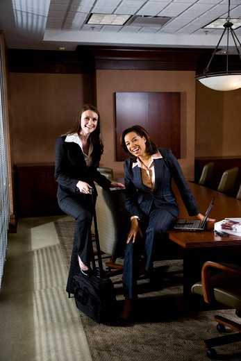 Two businesswomen in boardroom : Stock Photo