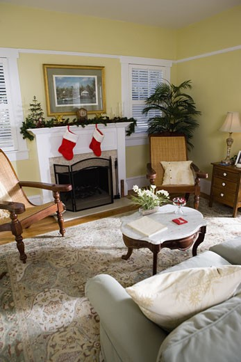 Stock Photo: 1785R-6753 View of a living room interior decorated for Christmas