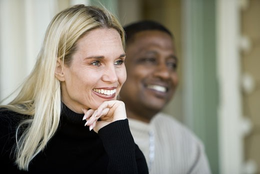 Close-up of a mature inter-racial couple : Stock Photo