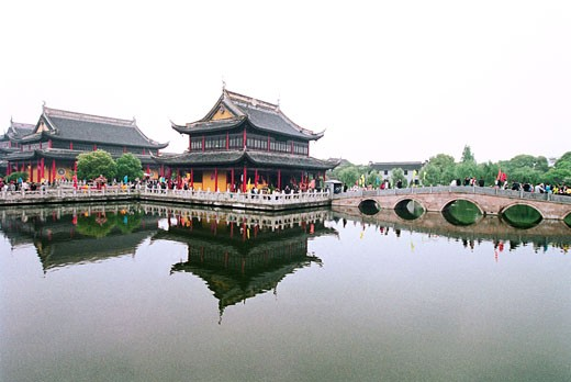 Reflection of shrine in lake, Zhouzhuang Town, Kunshan City, Jiangsu Province of People's Republic of China, : Stock Photo