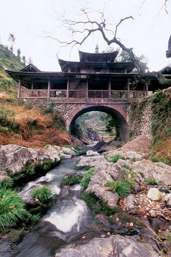 Yuwen Bridge Built in Qing Dynasty in Taishun, Taishun County, Zhejiang Province, People's Republic of China : Stock Photo