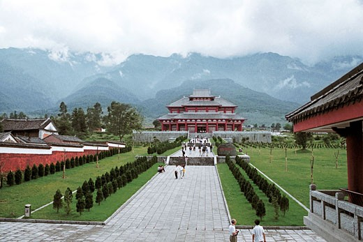 Stock Photo: 1787R-1597 People in front of Dali Congsheng Temple Built in Tang Dynasty , Dali City, Yunnan Province, People's Republic of China,
