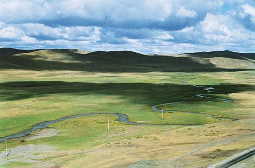The scenery of Gonggeer Prairie, Keshiketengqi, Chifeng City Inner Mongolia Autonomous Region of People's Republic of China : Stock Photo
