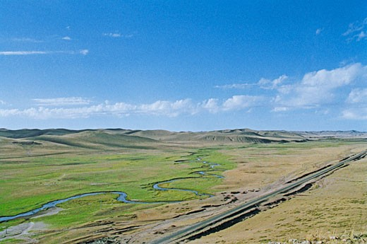 Stock Photo: 1787R-2047 Elevated view of meandering stream passing through grassland in Gonggeer, Keshiketengqi, Chifeng City Inner Mongolia Autonomous Region of People's Republic of China