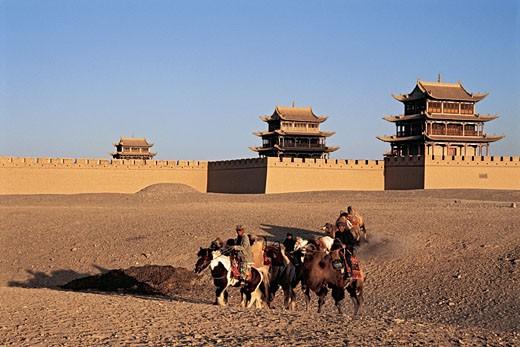 Horse caravan, Jiayuguan Great Wall, Gansu Province of People's Republic of China, : Stock Photo
