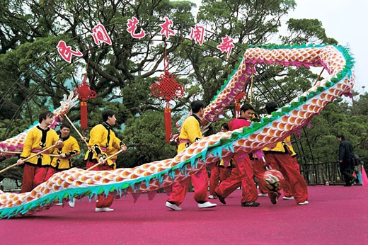 Winter jasmine folk art performance in country forest park, Fuzhou City, Fujian Province of People's Republic of China, : Stock Photo
