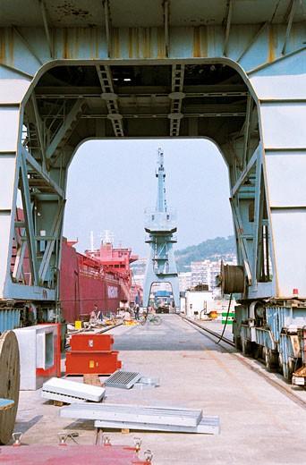 Shipyard of Mawei shipbuilding company, Mawei District, Fuzhou City, Fujian Province of People's Republic of China, : Stock Photo