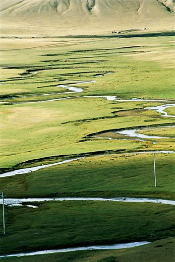 Elevated view of meandering stream passing through grassland, Bayangaole Prairie, Keshiketengqi, Chifeng City, Inner Mongolia Autonomous Region of People's Republic of China : Stock Photo