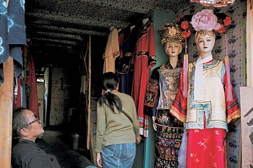 Mannequins by shop entrance, Fenghuang, Xiangxi Prefecture, Hunan Province, People's Republic of China, : Stock Photo
