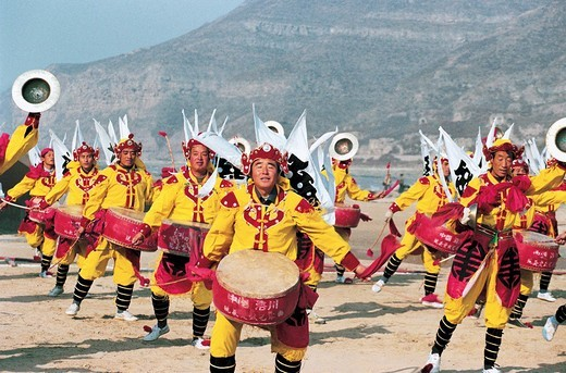 Luochuan Biegu Drum Show in Front of Huanghe River Hukou Waterfall, Yichuan County, Yan'an City, Shanxi Province, People's Republic of China, : Stock Photo