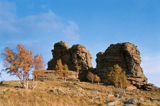 Stock Photo: 1787R-3750 The Asihatu Hoodoo of World geology park, Keshiketengqi, Chifeng City Inner Mongolia Autonomous Region of People's Republic of China