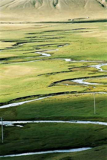 Stock Photo: 1787R-4307 Elevated view of meandering stream passing through grassland, Bayangaole Prairie, Keshiketengqi, Chifeng City, Inner Mongolia Autonomous Region of People's Republic of China