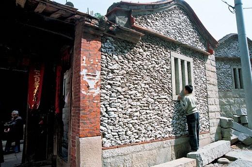 Stock Photo: 1787R-4367 Sea oyster shell house, Xunpu Village, Quanzhou City, Fujian Province of People's Republic of China,