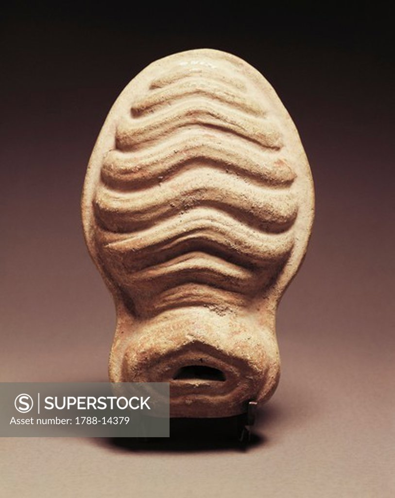 Stock Photo: 1788-14379 Clay votive statue of female uterus from sanctuary in Veii, Rome Province