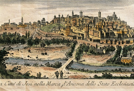 Italy, Jesi, View of the town in the Marche of Ancona, color engraving : Stock Photo