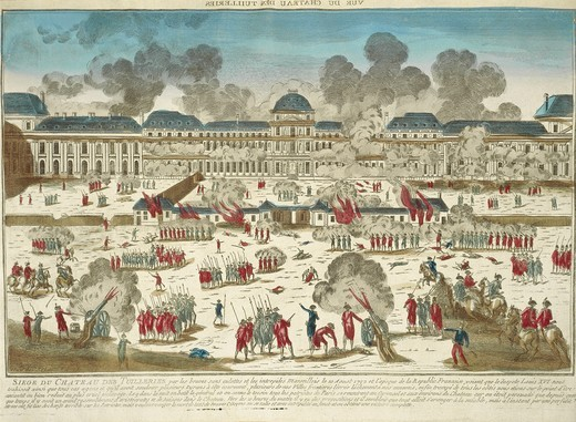 France, Paris, French Revolution, The storming of the Tuileries Palace in 1792, engraving : Stock Photo