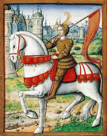 Stock Photo: 1788-10175 France, Joan of Arc, miniature, circa 1505, From the manuscipt Lives of Famous Women, by Antoine Dufour