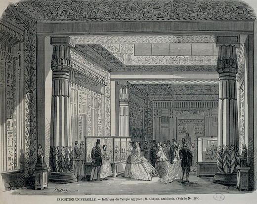 France, Reconstruction of the interior of an Egyptian temple at the Paris Universal Exhibition, 1867 : Stock Photo