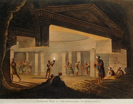 View of the catacombs at Alexandria (Egypt) from Views in Egypt by Luigi Mayer, engraving, 1804 : Stock Photo