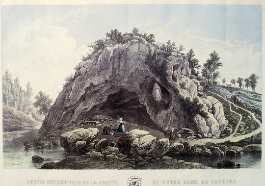 Stock Photo: 1788-10224 France, Lourdes, View of the Grotto of Massabielle also known as the Cave of Apparitions, engraving