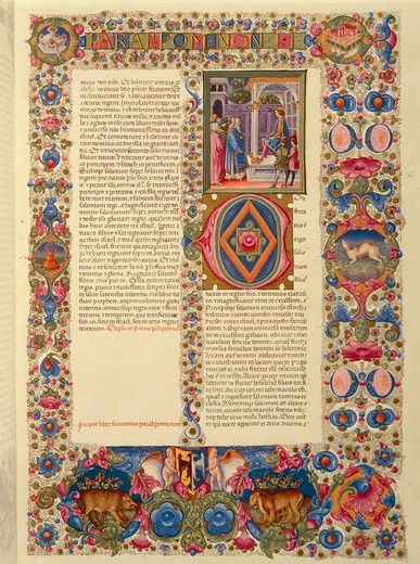 Stock Photo: 1788-10237 Italy, Incipit of the second Book of Chronicles, or Paralipomenon II miniature from the Latin Bible of Borso d'Este (1413-1471) by Taddeo Crivelli (1425-1479) and helpers (volume 1, folio 179, recto), 1455-62