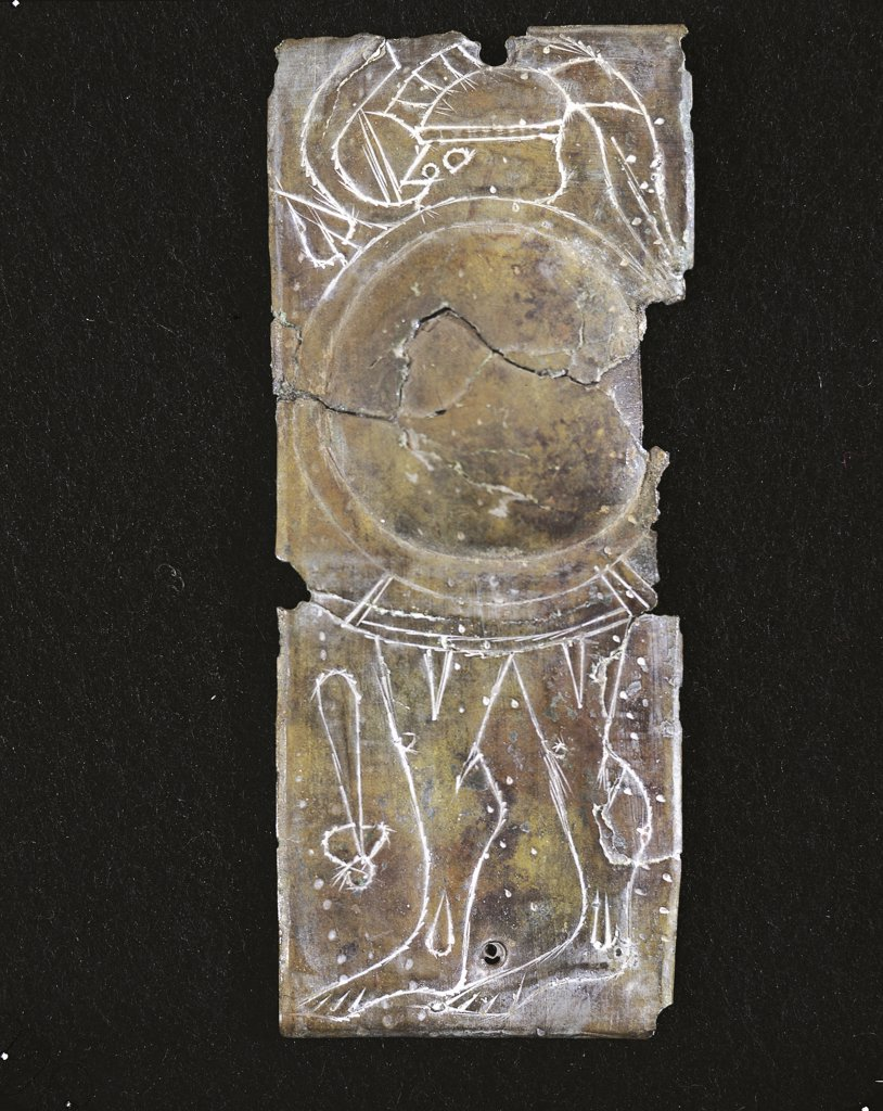 Prehistory - Italy - Iron Age - Votive plate  with warrior from the Sanctuary of Reithia (4th century b.C.) : Stock Photo