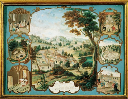 France, Magny-les-Hameaux, view of the Abbey of Port-Royal- des-Champs, gouache on parchment : Stock Photo