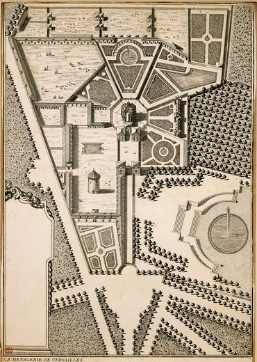 France, Versailles, Bird eye view of the menagerie designed by Louis Le Van (1612-1670), engraving, 1663-64 : Stock Photo