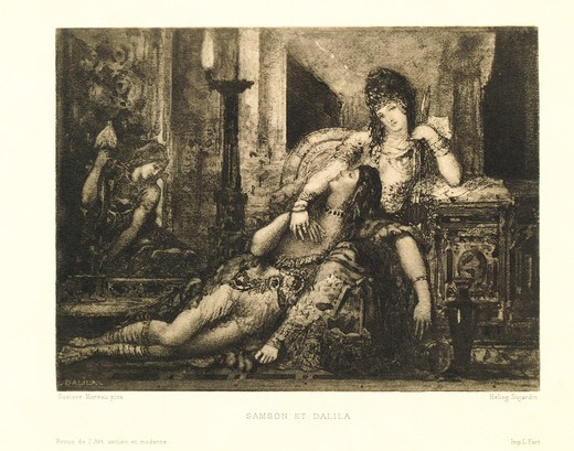 France, Paris, Samson and Delilah by Gustave Moreau (1826-1898), heliography : Stock Photo