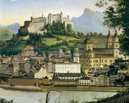 Austria, Salzburg, View of Salzburg by Franz Xaver Mandl (1812-1880), 1835 : Stock Photo