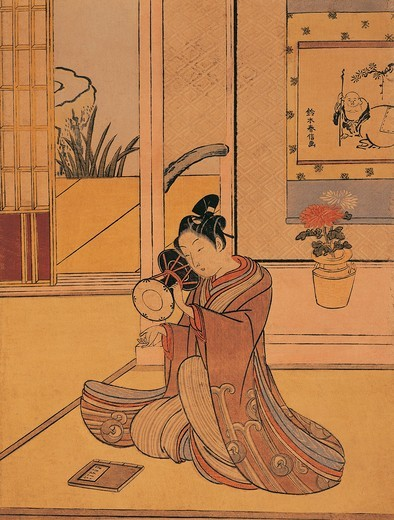 Italy, Genoa, Young man playing the drum by Suzuki Harunobu (circa 1725-1770), woodcut, 1767 : Stock Photo