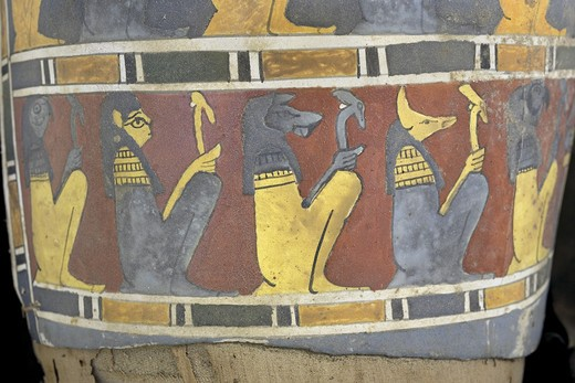 Egypt, Saqqara necropolis, Detail of cartonnage, Gods : Stock Photo