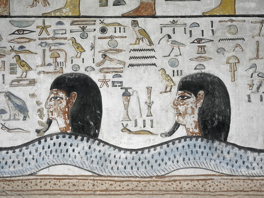 Stock Photo: 1788-10323 Egypt, Thebes, Luxor, Valley of the Kings, Mural paintings, Side Chamber, Tomb of Seti I