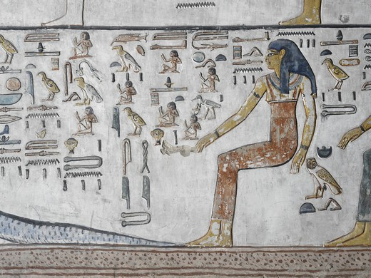 Egypt, Thebes, Luxor, Valley of the Kings, Close-up of mural paintings, Side Chamber, Tomb of Seti I : Stock Photo