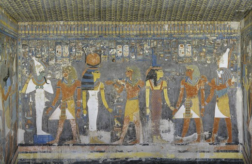 Egypt, Thebes, Luxor, Valley of the Kings, Mural paintings, Burial chamber, Tomb of Horemheb : Stock Photo