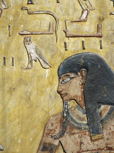 Egypt, Thebes, Luxor, Valley of the Kings, Tomb of Seti I, mural painting from nineteenth dynasty : Stock Photo